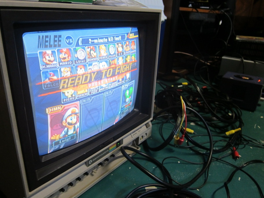 c64 tv running smash melee with unbelievable contrast